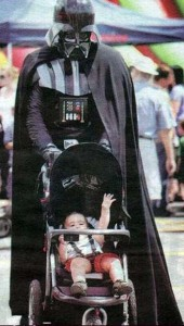 Darth Vader with a baby